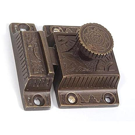 A29 Solid Brass Cabinet Latch With Flower Knob, Weathered Bronze Finish