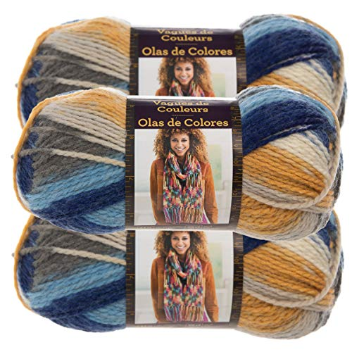 (Lion Brand Yarn (3 Pack Color Waves Acrylic & Wool Yarn Light #3 Soft Yarn for Knitting Crocheting (Twilight))