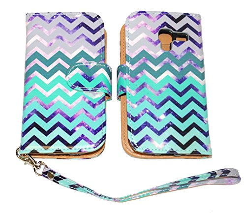 Teal & Purple Chevron Wallet Leather Case for Samsung Galaxy Exhibit T599 with Kickstand (Wallet Phone Samsung Exhibit)