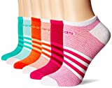 adidas Women's Superlite 6-Pack No Show Socks, Bahia Magenta/Mystery Ruby/Easy Coral/Sun Glow/Bright Green/Core Green/White,Women's Sock size (5-10)