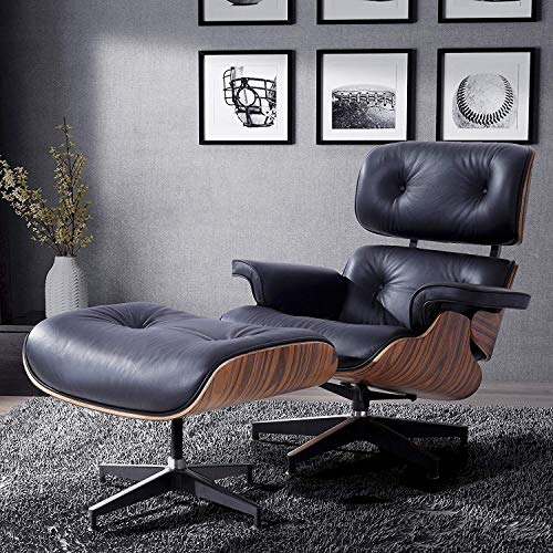 LAGRIMA Eames Lounge Chair with Ottoman, Mid Century Palisander Chair, 100% Grain Italian Leather Living Room Recliner with Heavy Duty Base Support (Black) (Reading Chair Ottoman)