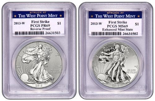 2013 Silver Eagle West Point First Strike Reverse Proof 69/Enhanced Mint State (West Point Label) PR-69