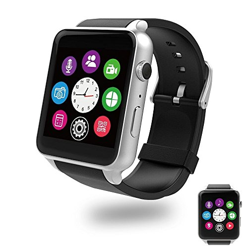 Evershop Bluetooth Smart Watch with Dual Card Slot and HD Camera, Smart Watches with Heart Rate Monitor Touch Screen Bluetooth Sports Wrist Watch Phone for Android and IOS (Silver)
