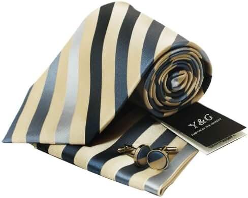 YAC1A09 Great Wedding Gift Idea Multicolored Striped Silk Neckte 3PT By Y&G