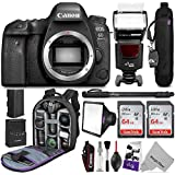 Canon EOS 6D Mark II DSLR Camera Body - WiFi Enabled w/Complete Photo & Travel Bundle - Includes: Altura Photo Backpack, Flash, 2pcs SanDisk 64gb SD Card, Monopod and Neck Strap