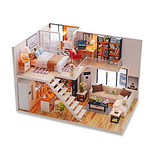 Miniature Wooden Furniture (WYD Doll House DIY Model Furniture Kits LED Lights Wooden Doll House Miniature Handmade For Christmas Birthday Gift)