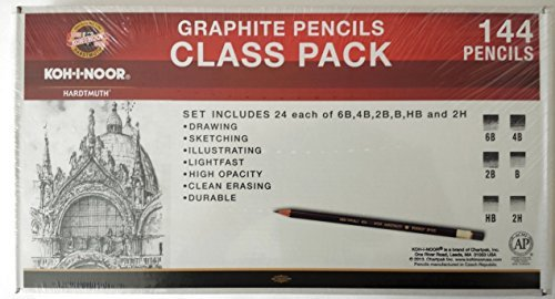 Koh-I-Noor Toison d'Or Graphite Pencil Artist Set Class Pack, 12 Each Per Degree, 144 Pencils Total (FA1502CP) by KOH-I-NOOR