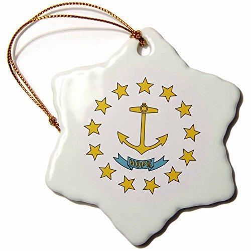 Christmas Ornament Sandy Mertens Rhode Island - State Flag of Rhode Island (PD-US) - Snowflake Porcelain Ornament ()