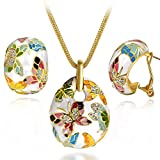 "Qianse ""Spring of Versailles"" Handcrafted Butterfly Cloisonne Earrings Pendant Necklace Jewelry Set"