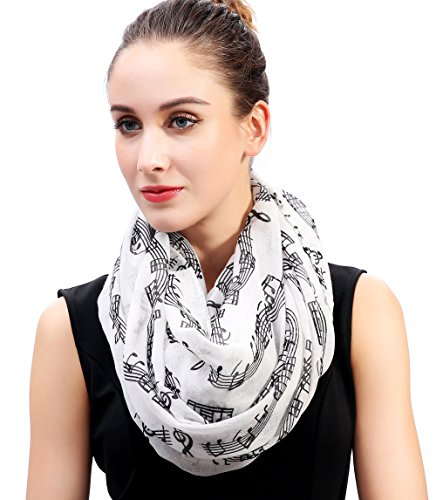 Gifts Accessories Music And - Lina & Lily Women's Musical Notes Print Infinity Loop Scarf (White)