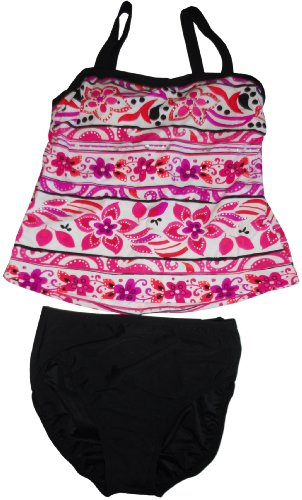 Women's Miraclesuit Two-Piece Bathing Suit Pink/White/Black (14) - Miraclesuit Two Piece Tankini