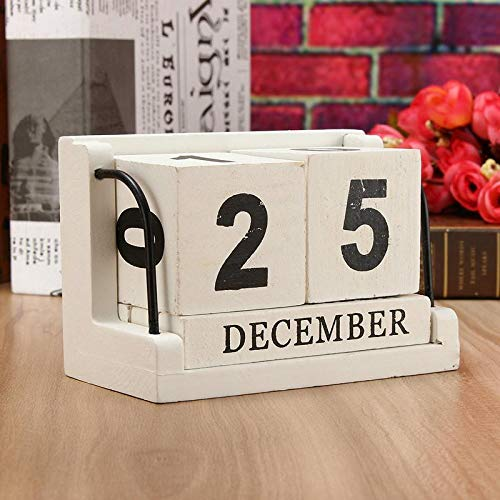 FidgetFidget Wood Calendar Perpetual Vintage Wall Block Desktop Desk Wooden Hand Painted -