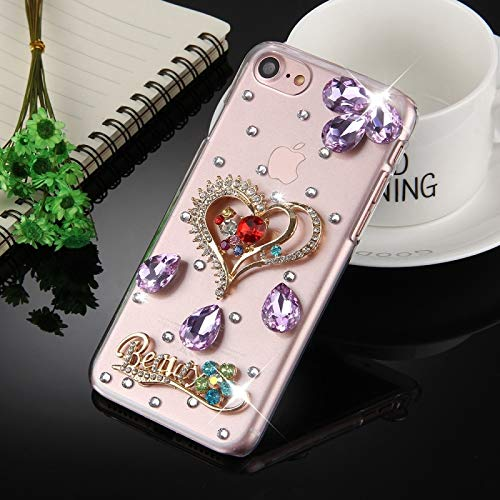(#52) for compatible with : iPhone 8 & 7 Diamond Encrusted Heart Shape Pattern Protective Back Cover Case