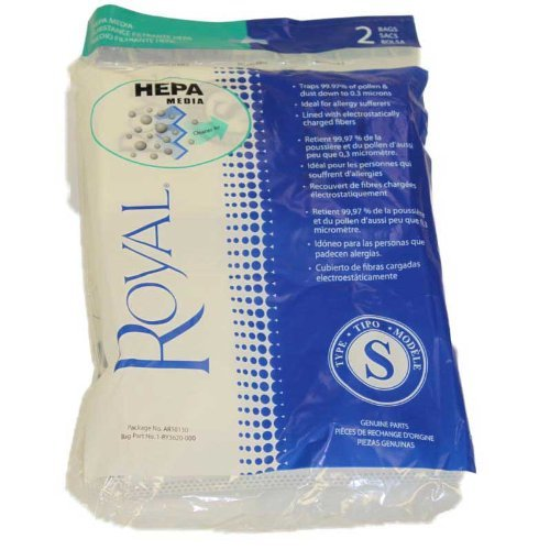 2 Royal Ry4000 Backpack Style S Ar10130 Hepa Filtration Premium Allergen Filtration Vacuum Cleaner Bags  Part Ar10130  Ry3620  And 1020961000  2Pk  Genuine