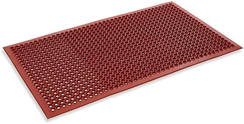 Kempf Red Anti-Fatigue Drainage Rubber Mat 3 x 5