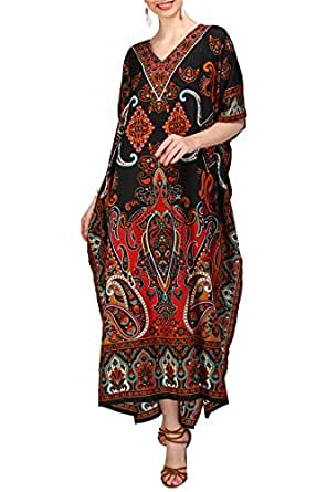 Miss Lavish London Women Kaftan Tunic Kimono Free Size Long Maxi Party Dress for Loungewear Holidays Nightwear Beach Everyday Cover Up Dresses #102 [Black 10-16]