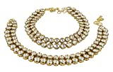 Muchmore Asian Ethnic Traditional Fashion Gold Tone Kundan Stone Anklet Partywear Jewelry