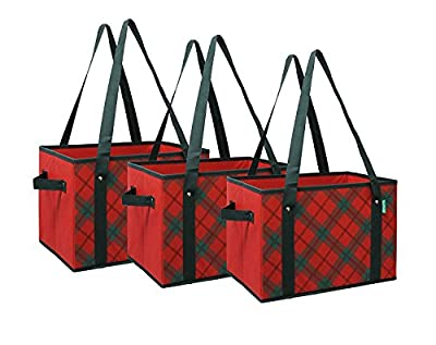 Earthwise Reusable Grocery Bags Box Deluxe Collapsible Foldable w/Reinforced Bottom Shoulder Straps and Side Handles Plaid Design (Set of 3)