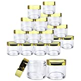 Beauticom 24 Pieces 30G/30ML(1 Oz) Round Clear Jars with Metallic GOLD Flat Top Lids for Herbs, Spices, Loose Leaf Teas, Coffee & Other Foods- BPA Free