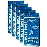 15 Panasonic Type C C-3 C3 Allergy Vacuum Bags, Canisters Vacuum Cleaners, MC-125P, MC125P, MC771, MC772, MC8310, MC8320, MC8330
