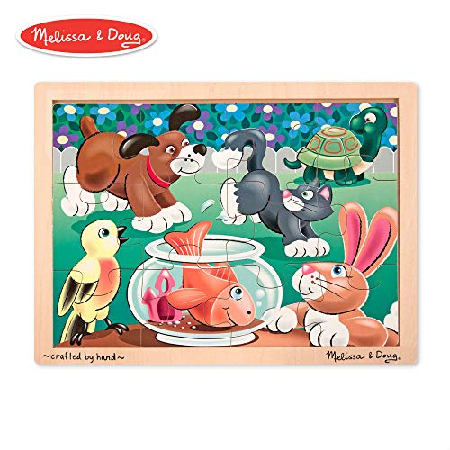 12 Piece Tray Puzzles - Melissa & Doug Pets Wooden Jigsaw Puzzle With Storage Tray (12 pcs)