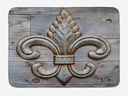 Ambesonne Fleur De Lis Bath Mat, Lily on Weathered Old Wooden Planks Historical Theme Image, Plush Bathroom Decor Mat with Non Slip Backing, 29.5