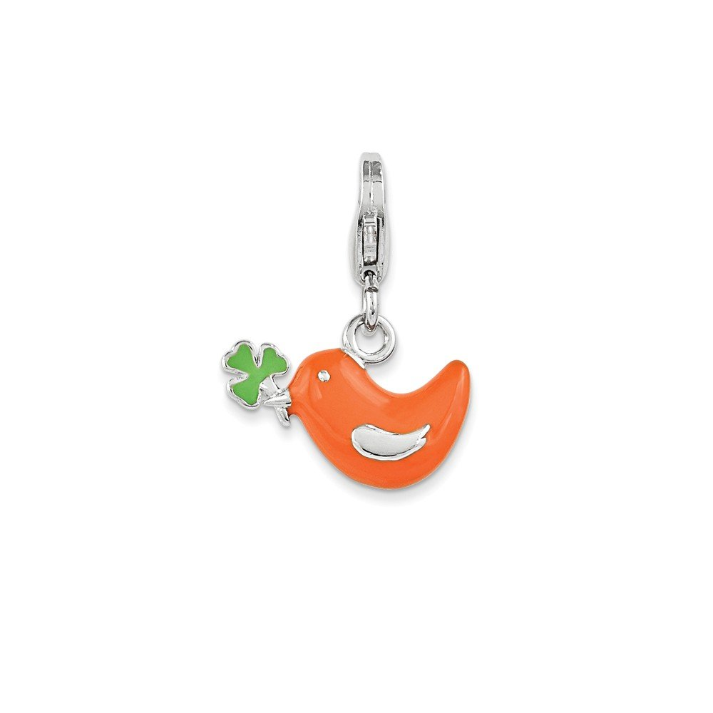 16mm x 11mm Jewel Tie 925 Sterling Silver Enamel Bird /& Clover with Lobster Clasp Pendant Charm