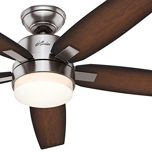 """Hunter Denali 54 Brushed Nickel Shinebrite Ceiling Fan: Hunter 54"""" Contemporary Brushed Nickel Ceiling Fan With"""