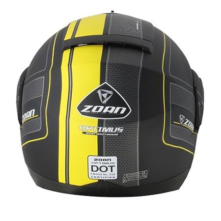 Amazon.es: Zoan Optimus traje negro mate amarillo Modular Motocicleta Casco XS