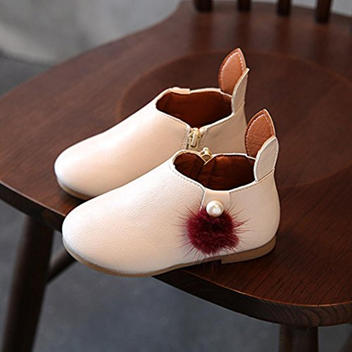 Igemy 1 Paar Kleinkind Baby Mädchen Nette Kaninchenohren Ball Sneaker Stiefel Zipper Lässige Schuhe Beige