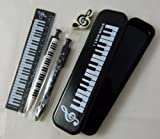 Music Themed Black Pencil Case Stationery Set - Mechanical Pencil, Mechanical Pen, 15cm Ruler and Eraser