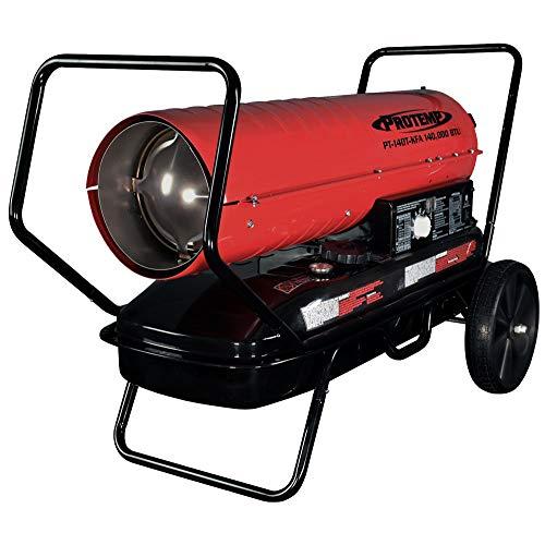 Pro-Temp PT-140T-KFA 140,000 BTU Kerosene/Diesel Forced Air Torpedo Heater, Red/Black (Kerosene Diesel Forced Air Heater)