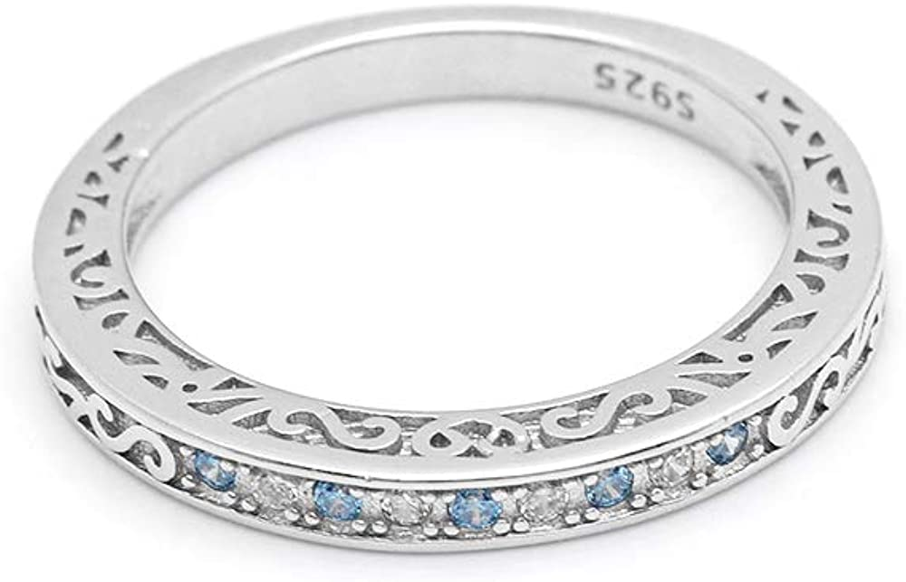 Ginger Lyne Collection Cynthia Blue CZ 925 Sterling Silver Anniversary Ring Wedding Band