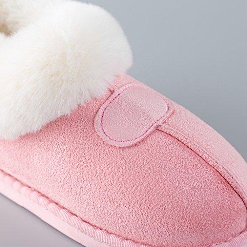 Hausschuhe DWW-Taihewen Firms Baumwolle Damen Winter Warme Innen Hause Dicke Rutschfeste Schuhe Pink