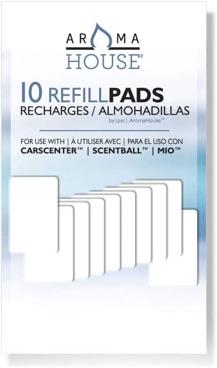AromaHouse Aromatherapy Diffuser Unscented Refill Pads for Essential Oil for Use with ScentBall, Carsceter, Aromakey, Aromapod & Mio 10 Pack