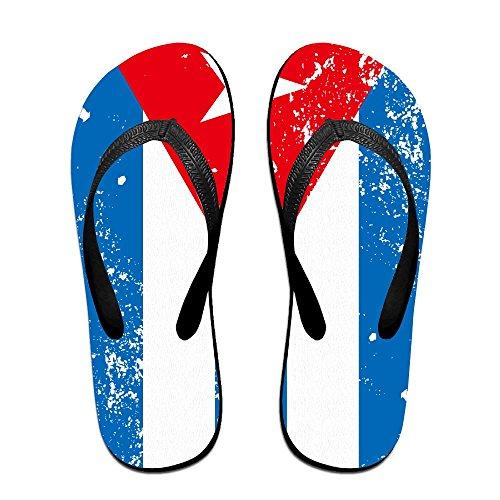 F-hal Unisex Flip Flops Retro Puerto Rico Flagg Reise Thong Sandal Stranden Tøffel Svart