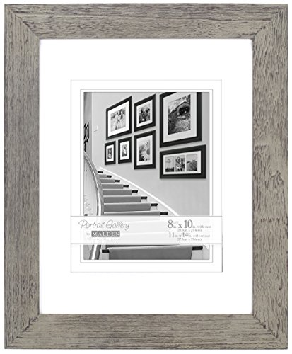 Distressed Wood Frame (Malden International Designs Manhattan Distressed Mat Picture Frame, 8x10/11x14, Gray)