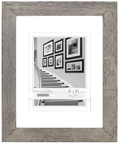Malden International Designs Manhattan Distressed Mat Picture Frame, 8x10/11x14, Gray - Distressed Wood Frame