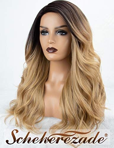 Blonde Ombre Synthetic Wig Front None Lace Medium Wavy Ombre Blonde Wig 27# Scheherezade L Part Glueless Honey Blonde Wig with Dark Roots for Women Full Machine Made Heat Resistant ()