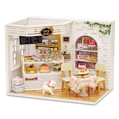 Miniature Cast Iron Stove (S Kaiko Wood Dollhouse with Furniture Mini House Handmade DIY Dollhouse Kit Dollhouse Miniature Living Room with LED Light Dollhouse Furniture Set for Gift(white))