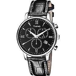 TMNG Men's TM1002NG Black Stainless Steel Genuine Calfskin Leather Watch