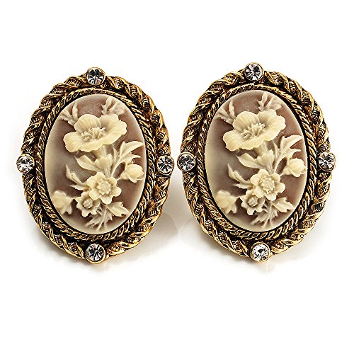 Floral Cameo Earrings (Antique Gold Floral Cameo Clip-On Earrings)