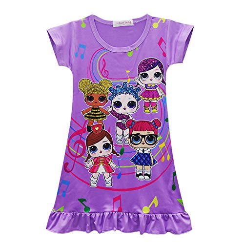 Girls Nightgown Pajama Cartoon Printed Sleepwear Cute Sleep Shirts Night Dresses for Christmas Birthday Party Costumes (Purple, 150 for -