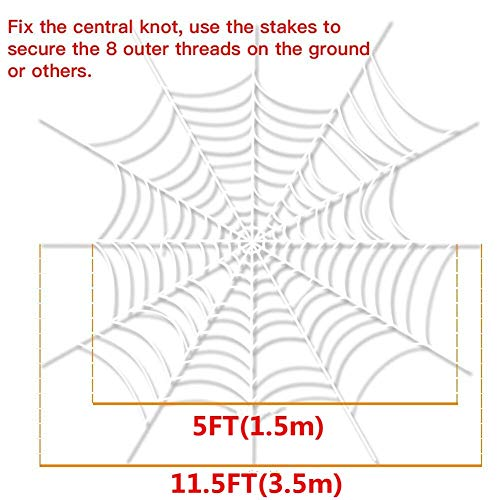 Beschoice Clearance 11 FT Spider Web with 3 Packs Spiders Halloween Decorations