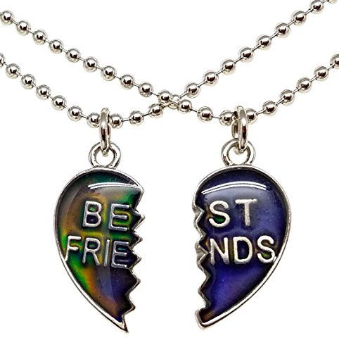 Cool Jewels® Mood Best Friend Heart Necklaces for 2