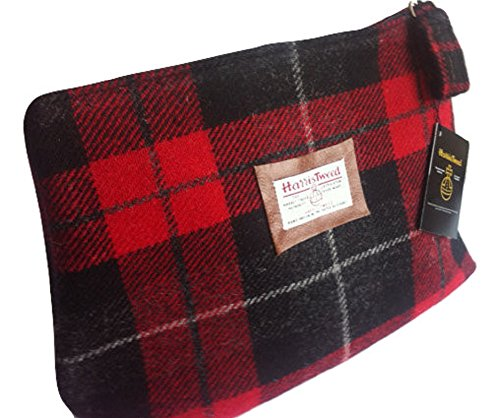 Harris Tweed man's toiletry bag - Monarch of the Glen plaid hand made in Scotland - Mans Harris Tweed