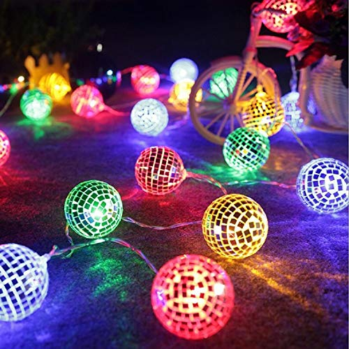 Surething 9.8ft 20LED Disco Ball String Lights for Indoor/Outdoor Halloween Christmas Thanksgiving Home Party Children Bedroom Window Tree Decoration-Multicolor