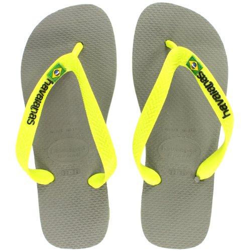 Donna Havaianas Logo Scivolare Su Flip Flops Estate Spiaggia Sandalo Nuovo - Grigio/Calce Verde - 41/42