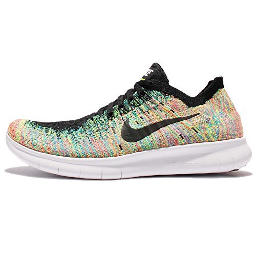 Nike Kids Free RN Flyknit GS Running Shoes (7 M US Big Kid, Black/White-Blue Lagoon) by NIKE