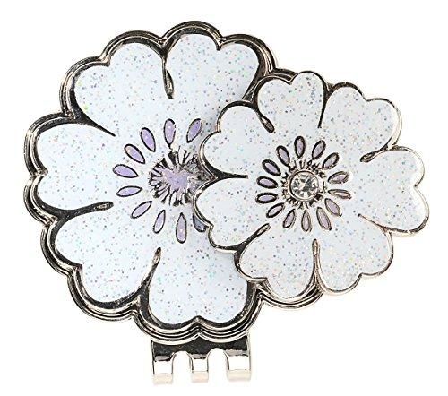 - Crystal Golf Ball Marker & Hat/ Visor Clip - White Flower